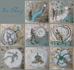"For Mary - acrylic and mixed media on paper, 10"" x 10"" each."