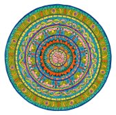 Grace. In this mandala, the forms and colors feel like Grace. But when creating it, I wasn't feeling graceful in my emotional being and this was manifesting in my physical presence as well. So I knew that I really needed to do this piece. And I was given lessons to help me realize that there was Grace in all of that as well. Here's a good example. Sadly I broke one of my favorite glasses, and that led to the bright orange jagged burst just outside the central image of the delicate flower. The two sides to my own life, coming together to form a whole.