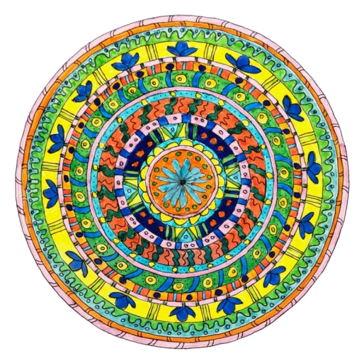 Health. This was the very first mandala in this series. I made it while I was recovering from a bad case of the flu. I had been way too busy and was needing time to rest, so it was no wonder that I got sick, proving once again the deep connection between our bodies and our minds. It was as if the idea for doing these mandalas came directly from that time to rest, think, and rejuvenate. As the imagery in the mandala suggests, it was a time of flowing and flowering.