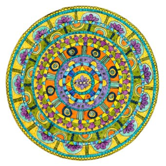 Honesty. There is a lot of purple in this mandala, the deeply spiritual color which reflects the deep quality of honesty that I believe is possible to attain. Above all else, I am always trying to be more honest with myself. The many levels of honesty always open up the opportunity to go deeper and deeper, knowing that there is always more to learn. And it keeps coming around. So in this mandala, I began with the purple flower and ended with the purple flower as well.