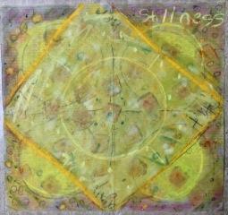 "Stillness - acrylic and mixed media on paper, 10"" x 10"""